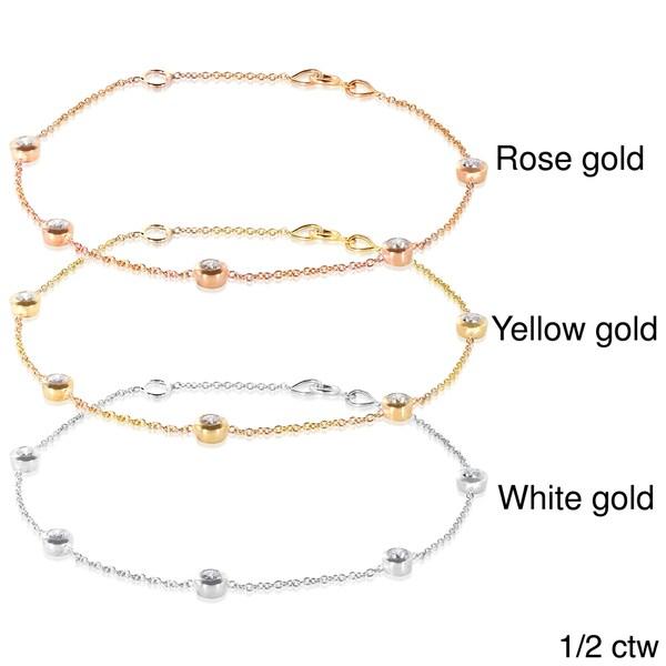 Annello 14k Gold 1/2 or 1ct TDW Diamond Bezel Station Bracelet