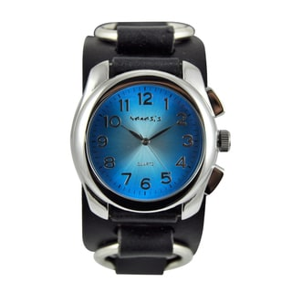 Nemesis Men's Blue Dial Black Leather Strap Watch