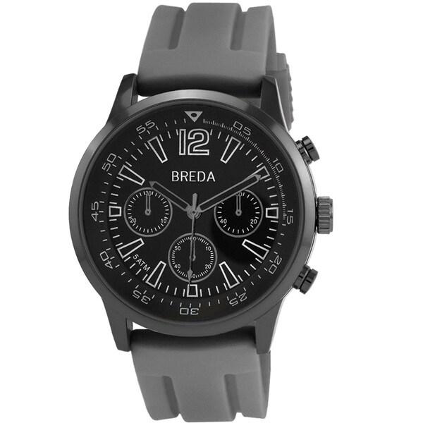 Breda Men's 'Oliver' Grey Silicone Strap Watch