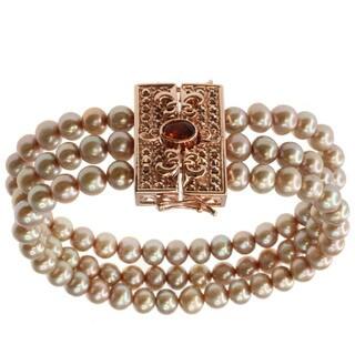 Dallas Prince Champagne Pearl, Madiera Citrine and Marcasite Bracelet