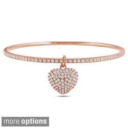 Miadora Silver Cubic Zirconia Heart Bangle Bracelet