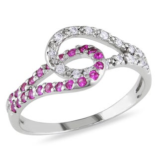 Miadora 14k Gold Pink Sapphire and 1/10ct TDW Diamond Ring (G-H, I1-I2)