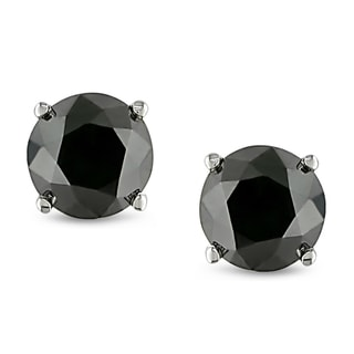 Miadora 10k White Gold 2ct TDW Black Diamond Stud Earrings