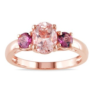 Miadora Rose-plated Silver Morganite and Pink Tourmaline Ring
