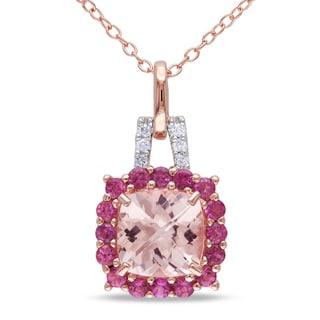 Miadora Rose-plated Silver Morganite, Tourmaline and Diamond Necklace