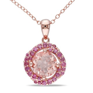 Miadora Rose-plated Silver Morganite and Pink Tourmaline Necklace