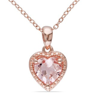 Miadora Rose-plated Silver Morganite Necklace