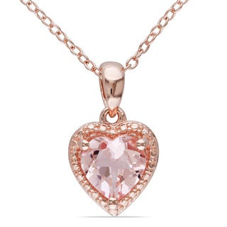 Link to Miadora Rose-plated Silver Morganite Necklace Similar Items in Necklaces