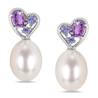 Miadora Sterling Silver Pearl Tanzanite and Amethyst Earrings (8-8.5 mm)