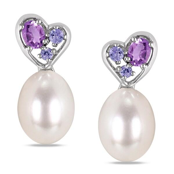 Pearl Tanzanite: Shop Miadora Sterling Silver Pearl Tanzanite And Amethyst