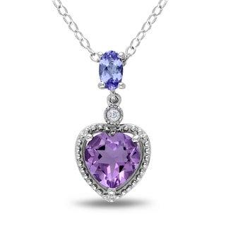 Miadora Sterling Silver Tanzanite, Amethyst and Diamond Necklace