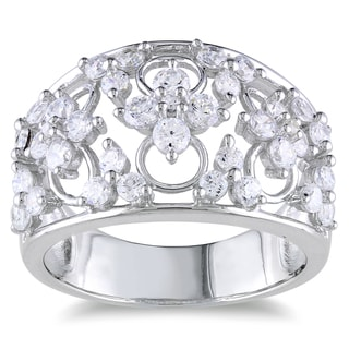 Miadora Sterling Silver Cubic Zirconia Clovers Ring