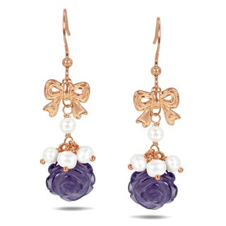 Catherine Catherine Malandrino Rose-plated Silver Pearl and Amethyst Dangle Earrings