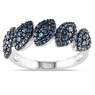 Miadora 10k White Gold 1/2ct TDW Blue Diamond Fashion Ring