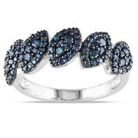 Miadora 10k White Gold 1/2ct TDW Blue Diamond Fashion Ring