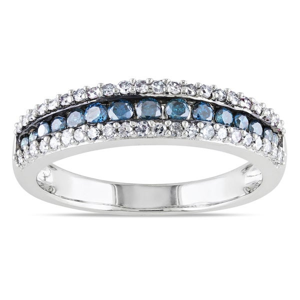 Miadora 10k Gold 1/2ct TDW Blue and White Diamond Ring