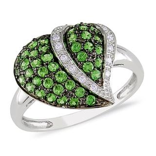Miadora 14k White Gold Tsavorite and Diamond Heart Ring