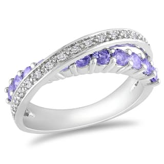 miadora sterling silver tanzanite and 110ct tdw diamond ring h i i2 - Tanzanite Wedding Rings