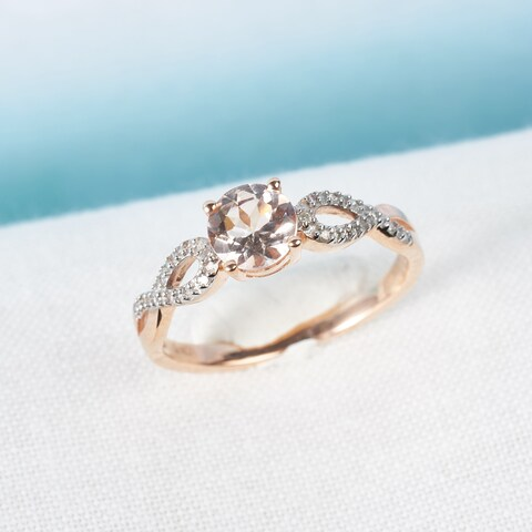 Miadora 10k Rose Gold Morganite and 1/10ct TDW Diamond Infinity Engagement Ring