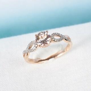 Link to Miadora 10k Rose Gold Morganite and 1/10ct TDW Diamond Infinity Engagement Ring Similar Items in Rings