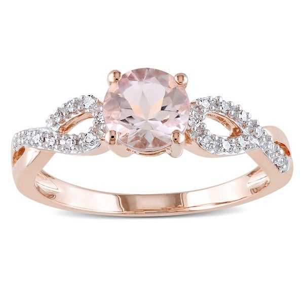 Miadora 10k Rose Gold Morganite and 1 10ct TDW Diamond Infinity