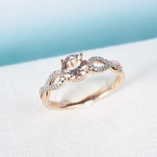 Miadora 10k Rose Gold Morganite and 1/10ct TDW Diamond Infinity Engagement Ring (G-H, I1-I2)|https://ak1.ostkcdn.com/images/products/7966596/P15337607.jpg?impolicy=medium