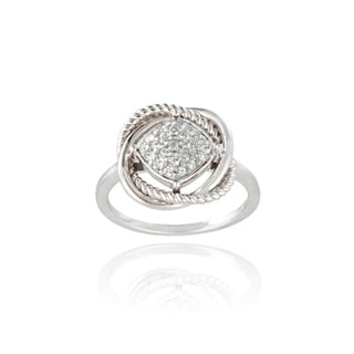 Glitzy Rocks Sterling Silver 1/4ct TGW White Topaz Love Knot Ring