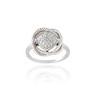 Glitzy Rocks Sterling Silver 1/4ct TGW White Topaz Love Knot Ring
