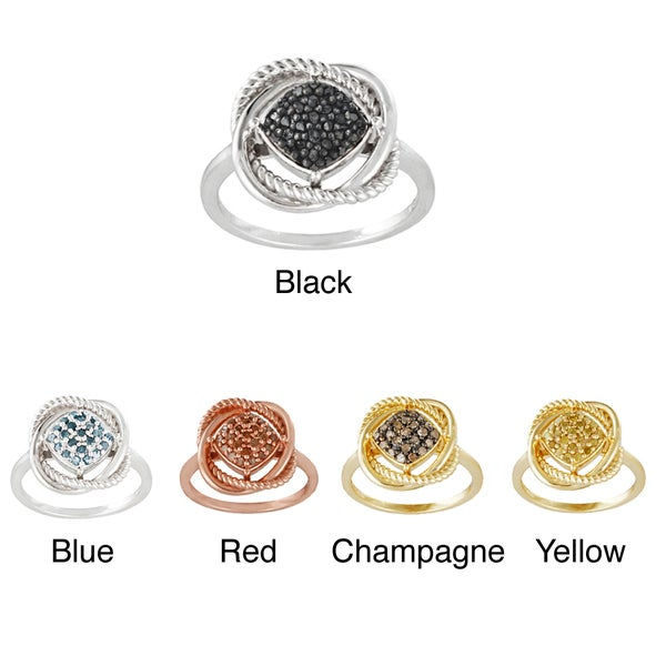 DB Designs Sterling Silver 1/4ct TDW Colored Diamond Love Knot Ring