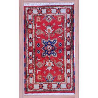 Herat Oriental Indo Hand-knotted Kazak Red/ Beige Wool Rug (2'2 x 4')