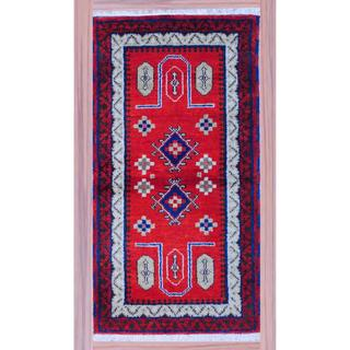 Herat Oriental Indo Hand-knotted Kazak Multicolor Red/ Ivory Wool Rug (2'2 x 4')