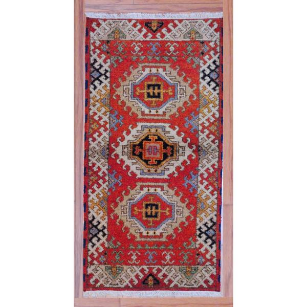 Geometric Indo Hand-Knotted Kazak Red/Ivory Wool Accent Rug (2'2 x 4')