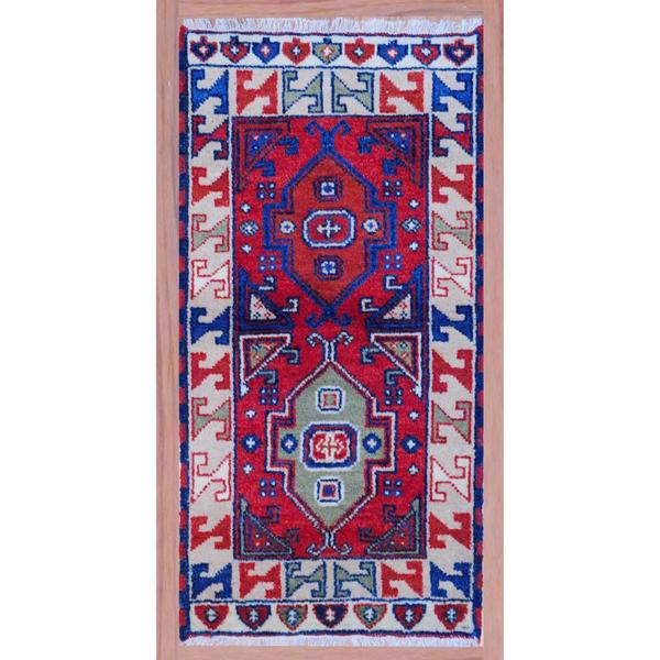 Indo Hand-Knotted Colorful Kazak Red/Beige Wool Rug (2'2 x 4')