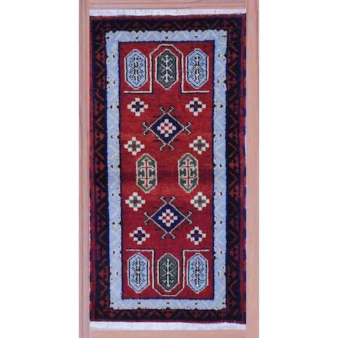 Handmade Kazak Wool Rug (India) - 2'2 x 4'