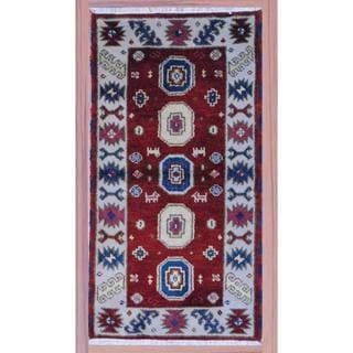 Herat Oriental Indo Hand-knotted Kazak Wool Rug (2'2 x 4')