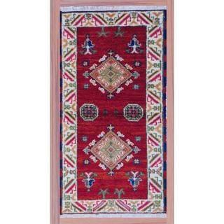 Herat Oriental Hand-knotted Kazak Red/ Ivory Wool Rug (2'2 x 4')