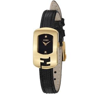 Fendi Women's 'Chameleon' Black Diamond Dial Goldtone Quartz Watch