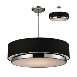 Jade 3-light Polished Chrome Black Shade Pendant