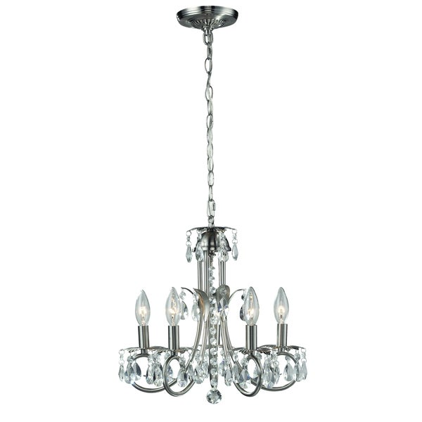 Classic Pearl Brushed Nickel 5 Light Chandelier Free