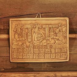 Handmade Ceramic 'Maya Coronation in Ochre' Wall Plaque (Mexico)