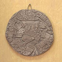Handmade Ceramic 'Aztec Moon Goddess' Wall Plaque (Mexico)