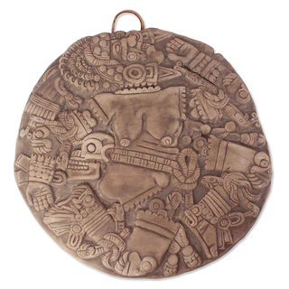 Handmade Ceramic 'Aztec Moon Goddess' Wall Plaque (Mexico)
