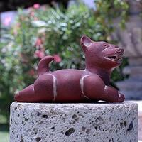 Handmade Ceramic 'Comala Dog' Sculpture (Mexico)