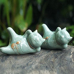 Set of 2 Ceramic 'Lucky Cats at Play' Celadon Statuettes (Thailand)
