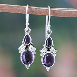 Handmade Sterling Silver 'Mumbai Lilac' Amethyst Earrings (India)