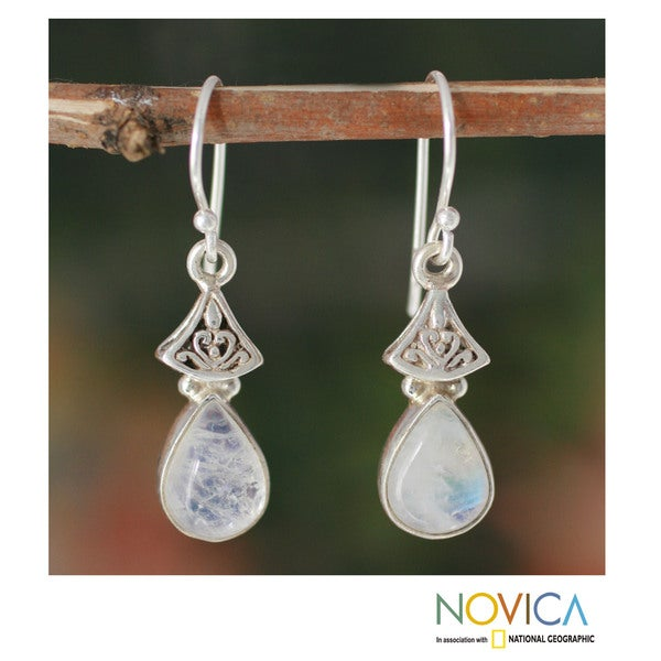 Sterling Silver 'Misty Morn' Moonstone Earrings (India)