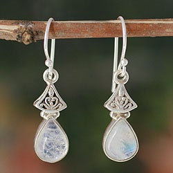 Sterling Silver 'Misty Morn' Moonstone Earrings (India)