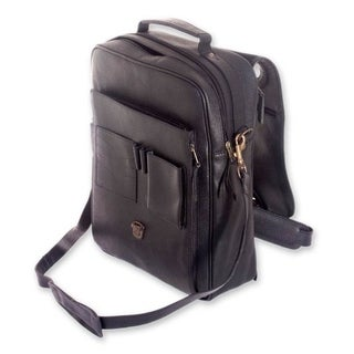 Handmade Leather Men's 'Out of Office in Black' Large Messenger Bag (Mexico)