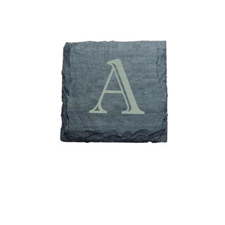 J.K. Adams 4-inch Square Monogrammed Slate Coasters, Set of 4, A