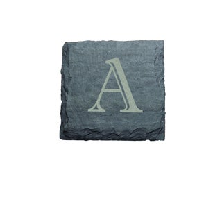 J.K. Adams 4-inch Square Monogrammed Slate Coasters, Set of 4, A